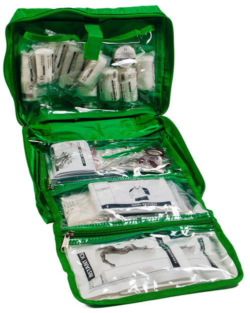 Budget First Aid Kit 70 Piece | Open Bag | Physical Sports First Aid