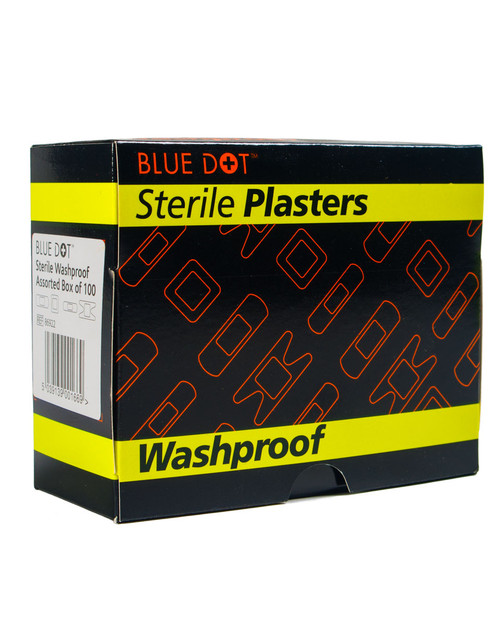 Blue Dot Washproof Plasters 100 Assorted | Pack Shot | Physical Sports First Aid