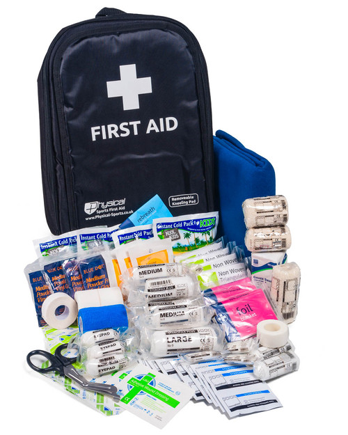 Mobile Sports First Aid Kit in Rucksack | Showing Full Contents | Physical Sports First Aid