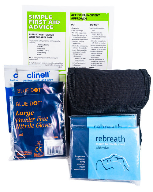 Personal Protection & Resuscitation Kit | Showing Contents | Physical Sports First Aid