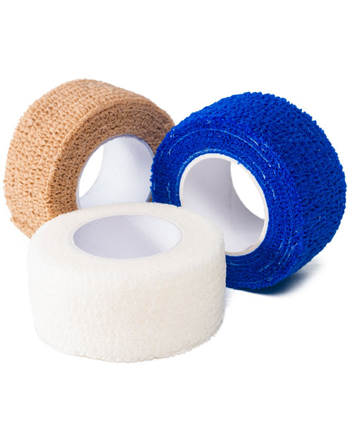 Cohesive Bandage, 2.5cm | Tan, Blue and White | Physical Sports First AId