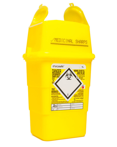 Sharpsafe Bin | 1 Litre, Yellow Lid | Physical Sports First Aid