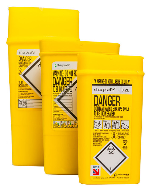 Portable Sharpsafe Bins | 0.2l 0.45l and 0.6l Sizes | Physical Sports First Aid