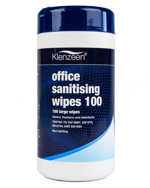 Klenzeen Office Sanitising Wipes | Resealable Tub of 100 | Physical Sports First Aid