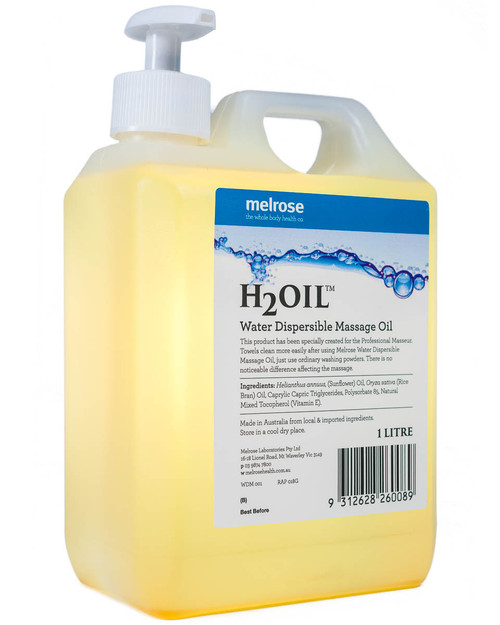 H₂Oil Water Dispersible Massage Oil | 1 Litre Pump Bottle | Physical Sports First Aid