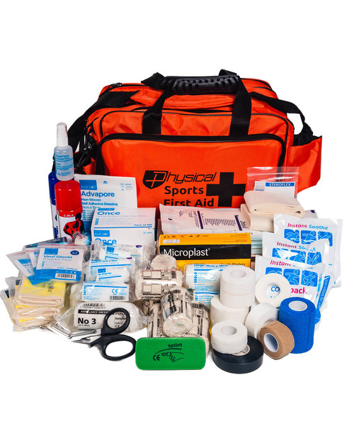 Ultimate Hockey First Aid Kit | Orange Holdall with Contents | Physical Sports First Aid