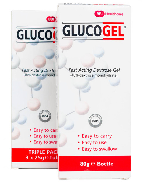 Glucogel Dextrose Gel | 80g Bottle and 3 Pack of 25g Tubes | Physical Sports First Aid