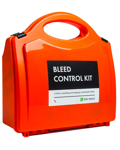 Bleed Control Kit   In Orange First Aid Box   Physical Sports First Aid