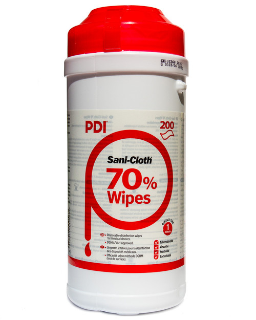 PDI Sani Cloth 70% Alcohol Wipes | Resealable Tub of 200 | Physical Sports First Aid