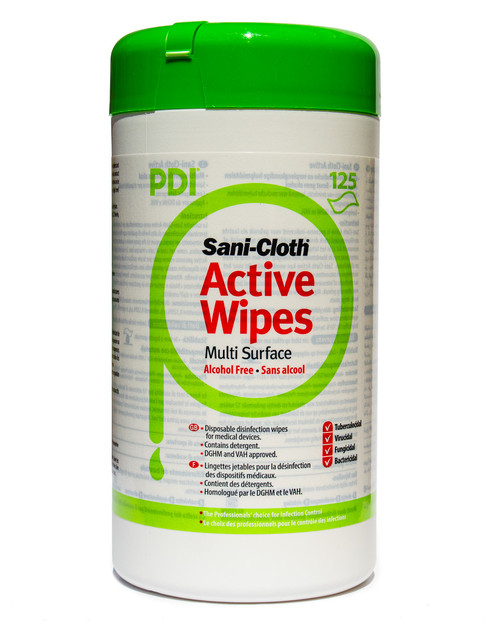 PDI Sani-Cloth Active Wipes | Resealable Tub of 125 WIpes | Physical Sports First Aid