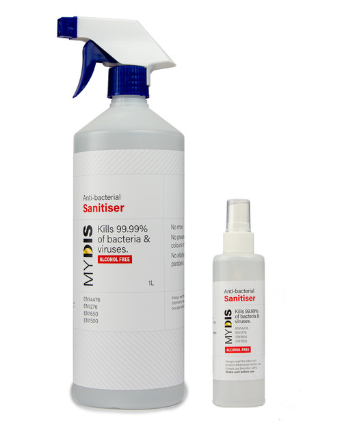 Mydis Hand Sanitiser | 100ml and 1l Spray Bottles | Physical Sports First Aid