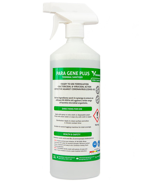Paragon Para Gene Plus Terminal Sanitiser   1 Litre RTU Spray   Physical Sports First Aid