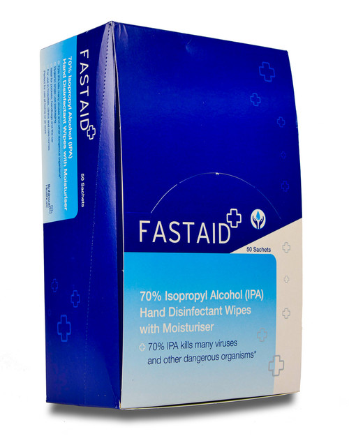Fast Aid Alcohol Hand Wipes | Box of 50 Sachets | Physical Sports First Aid