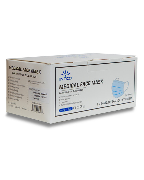 Intco Type IIR Medical Face Masks | Box of 50 | Physical Sports First Aid