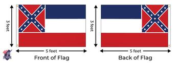 Mississippi 3x5 Feet Nylon State Flag Made In USA