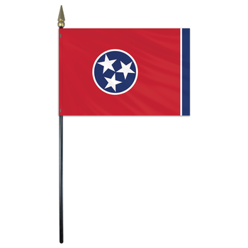 Tennessee State Stick Flag 4x6 Inches Polyester by Valley Forge Flag 04762420