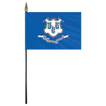 Connecticut State Stick Flag 4x6 Inches Polyester by Valley Forge Flag 04762070