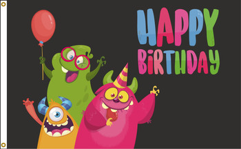 Happy Birthday Monsters 3ftx5ft Nylon Flag 3x5 Made in USA 3'x5'