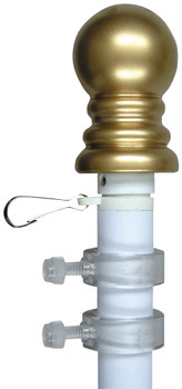 Rotating 6 Feet Aluminum White Flag Pole With Gold Ball Ornament Anti-Furl 324105