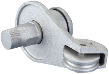 "Silver Cast Aluminum External Halyard Revolving 1-1/4 Inch NPT Treading Spindle Single Pulley Up to 5-1/2 Inch Flagpole Truck - 1-1/4"" NPT Treading Spindle Truck"