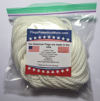 "1/4"" Diameter x 50' Length White Flagpole Polypropylene Halyard - Flagpole Rope"
