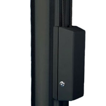 """Black Cleat Cover Box With Cylinder Lock Fits 4""""-12"""" Pole Diameter"""