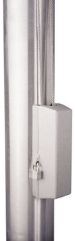"""Silver Cleat Cover Box With Padlock Lock Fits 4""""-12"""" Pole Diameter"""