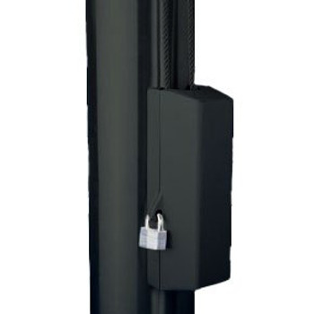 """Black Cleat Cover Box With Padlock Lock Fits 3""""-3.5"""" Pole Diameter"""