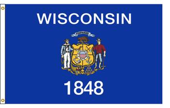 Wisconsin 6'x10' Nylon State Flag 6ftx10ft