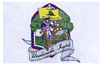 Close up of design of Unalienable Rights Dont Tread On Me 12inx18in Flag