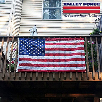 USA Balcony Mounting Kit By Valley Forge Flag American Flag Kit Nylon 3'x5' 100% Made in USA Heavy Duty Brass Grommets Fasteners