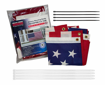 USA Balcony Mounting Kit By Valley Forge Flag American Flag Kit Polycotton 3'x5' 100% Made in USA Heavy Duty Brass Grommets Fasteners