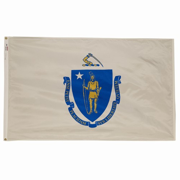 Massachusetts State Flag 3x5 Feet Spectramax Nylon by Valley Forge Flag 35232210