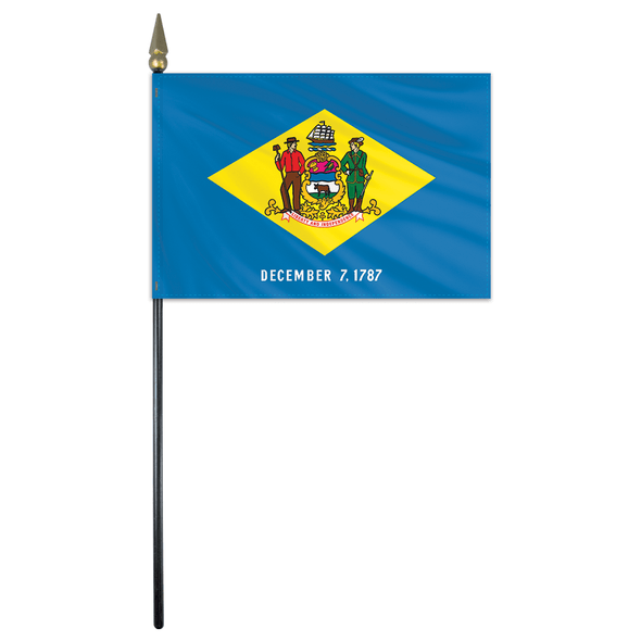 Delaware State Stick Flag 4x6 Inches Polyester by Valley Forge Flag 04762080