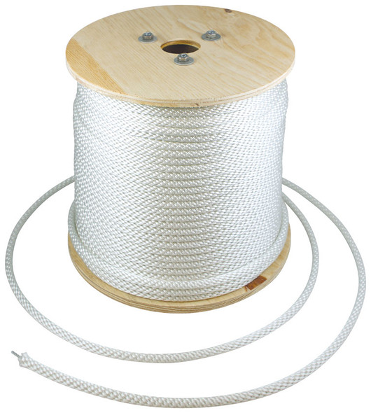 3/8 Inch Diameter x 500 Feet Length Spool White Polyester Wire Center Halyard - Flagpole Rope 350231