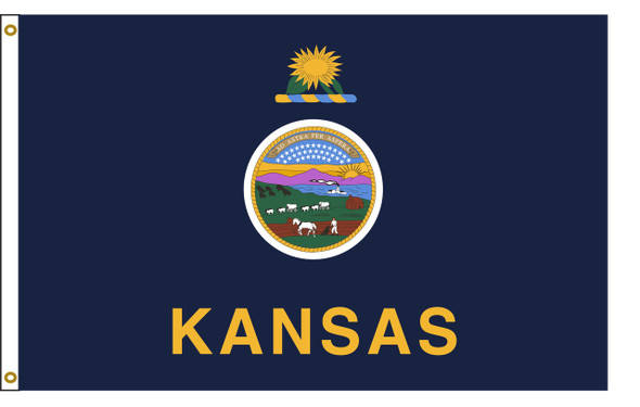 Kansas 5'x8' Nylon State Flag 5ftx8ft