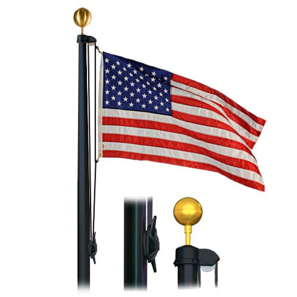 25' Flag Pole Black Finish 4 Sectional Special Budget Series