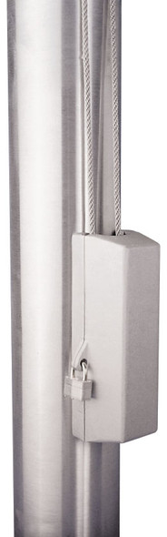"Silver Cleat Cover Box With Padlock Lock Fits 3""-3.5"" Pole Diameter"