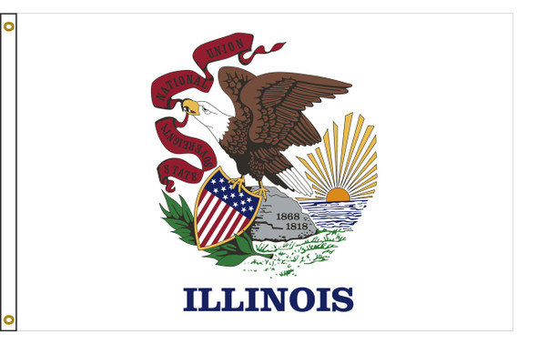 Illinois 8'x12' Nylon State Flag 8ftx12ft