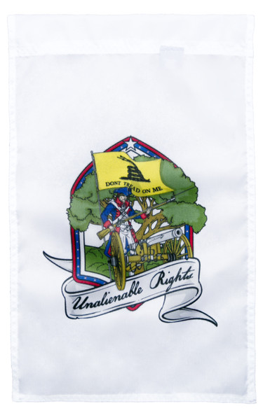 Front side of Unalienable Rights Dont Tread On Me 18inx12in Nylon Garden Flag