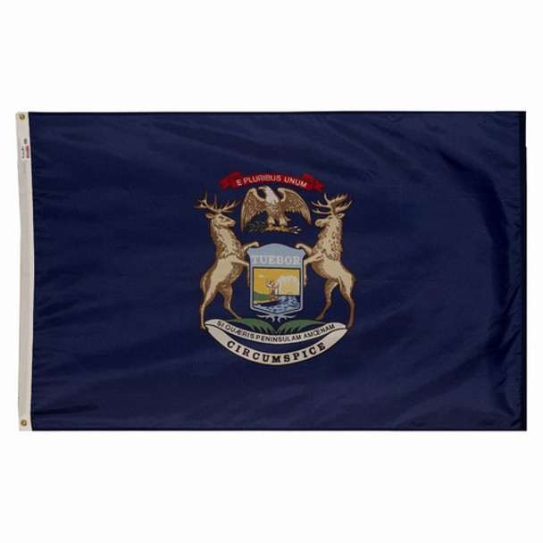 Michigan State Flag 3x5 Feet Spectramax Nylon by Valley Forge Flag 35232220
