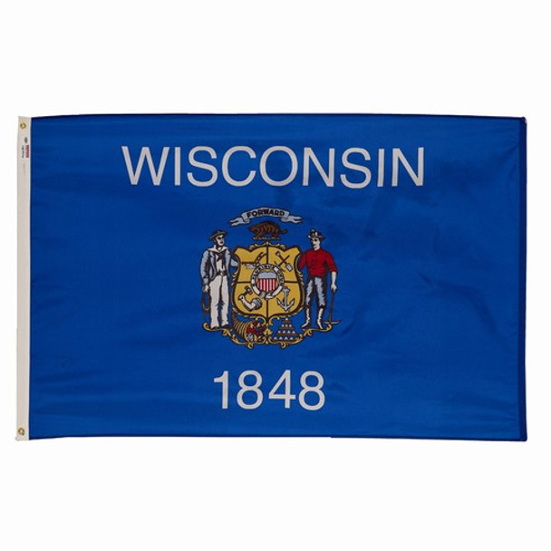 Wisconsin State Flag 3x5 Feet Spectramax Nylon by Valley Forge Flag 35232490
