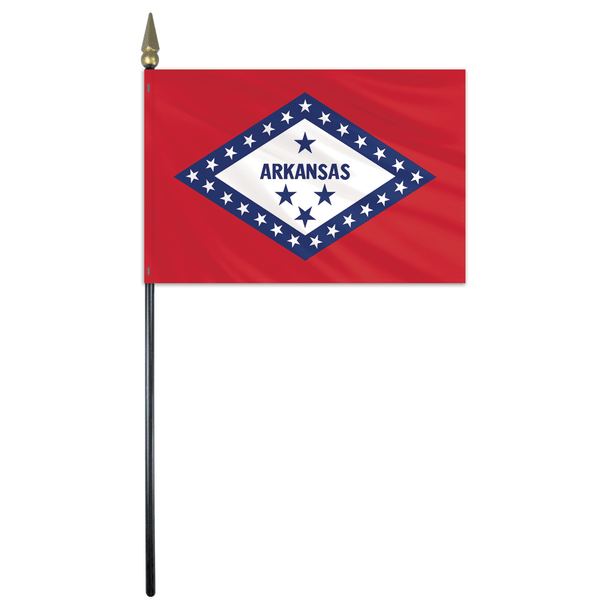 Arkansas State Stick Flag 4x6 Inches Polyester by Valley Forge Flag 04762040