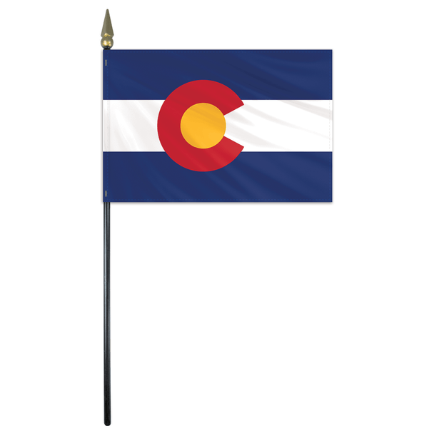 Colorado State Stick Flag 4x6 Inches Polyester by Valley Forge Flag 04762060