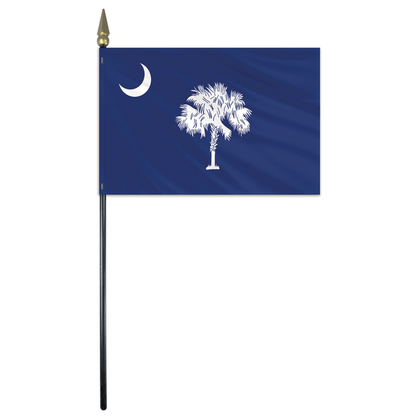 South Carolina State Stick Flag 4x6 Inches Polyester by Valley Forge Flag 04762400
