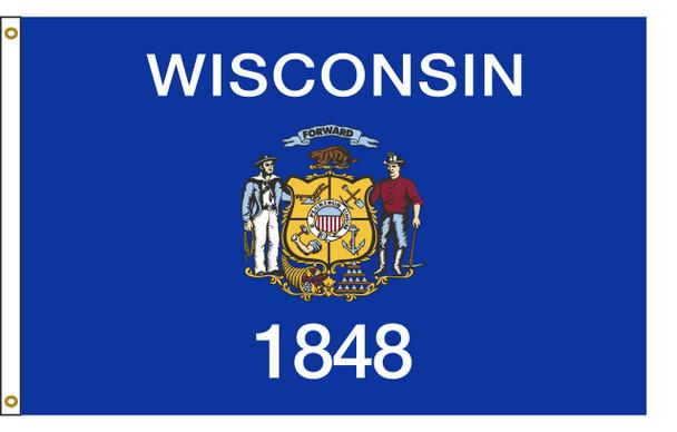 Wisconsin 3'x5' Nylon State Flag 3ftx5ft