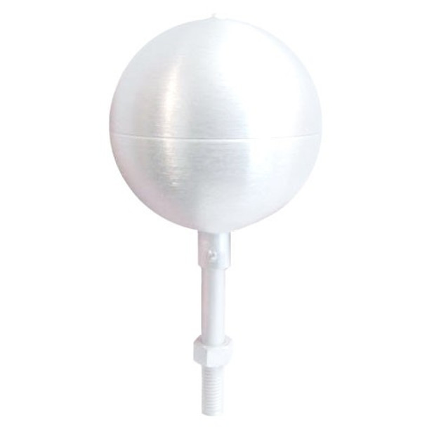 "10"" Inch White Aluminum Ball Flagpole Ornament"