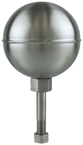 "8"" Inch Stainless Steel Satin Finish Ball Flagpole Ornament"