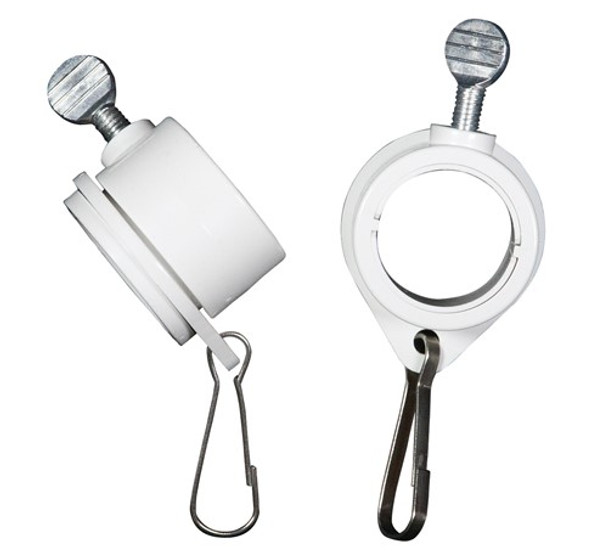 "1 Inch White Rotating Flag Mounting Rings Fits On A Standard 1"" Diameter Flag Pole (Qty 2, 1 Inch White)"