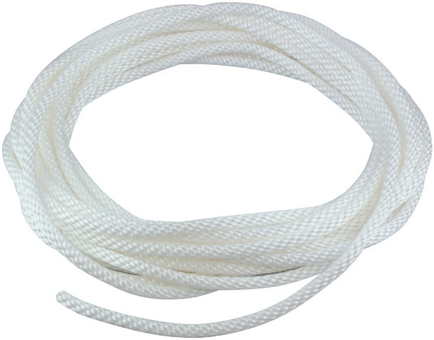 "3/16"" Diameter x 50' Length White Flagpole Polypropylene Halyard - Flagpole Rope"